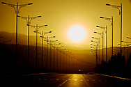 Ashgabat, Turkmenistan - 2017 September 22: A view of Candybil Avenue while sunset during 2017 Ashgabat 5th Asian Indoor & Martial Arts Games on September 22, 2017 in Ashgabat, Turkmenistan.<br /> <br /> Mandatory credit:<br /> Photo by © Adam Nurkiewicz<br /> <br /> Adam Nurkiewicz declares that he has no rights to the image of people at the photographs of his authorship.<br /> <br /> Picture also available in RAW (NEF) or TIFF format on special request.<br /> <br /> Any editorial, commercial or promotional use requires written permission from the author of image.