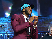 Apr 25, 2019; Nashville, TN, USA; Florida defensive end Brian Burns after being selected as the No. 16 pick of the first round by the Carolina Panthers during the 2019 NFL Draft. (Kim Hukari/Image of Sport)