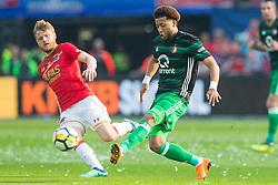 Fredrik Midtsjo of AZ, Tonny Vilhena of Feyenoord during the Dutch Toto KNVB Cup Final match between AZ Alkmaar and Feyenoord on April 22, 2018 at the Kuip stadium in Rotterdam, The Netherlands.