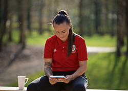CARDIFF, WALES - Monday, April 1, 2019: Wales' Natasha Harding during filming with Sgorio at a media session at the Vale Resort ahead of a friendly against the Czech Republic. (Pic by David Rawcliffe/Propaganda)