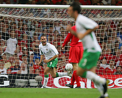 CARDIFF, WALES - Wednesday, September 8, 2004: Northern Ireland's David Healy celebrates scoring against Wales during the Group Six World Cup Qualifier at the Millennium Stadium. (Pic by David Rawcliffe/Propaganda)