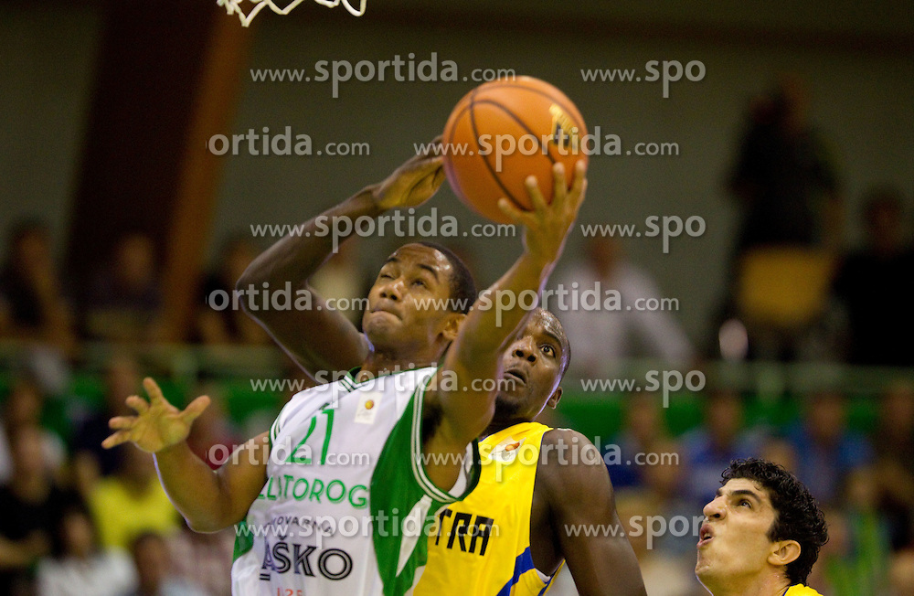 John Roberson of Zlatorog vs James Shawn of Maccabi during basketball match between KK Zlatorog Lasko and Maccabi Electra Tel-Aviv in 2nd Round of ABA League, on October 3, 2011, in Arena Tri Lilije, Slovenia. (Photo by Vid Ponikvar / Sportida)
