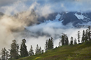 Low elevation clouds switling over mountains, North Cascades Washington