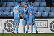 Coventry City striker Marc McNulty (10) scores a goal 2-0 and celebrates during the EFL Sky Bet League 2 match between Coventry City and Wycombe Wanderers at the Ricoh Arena, Coventry, England on 22 December 2017. Photo by Alan Franklin.