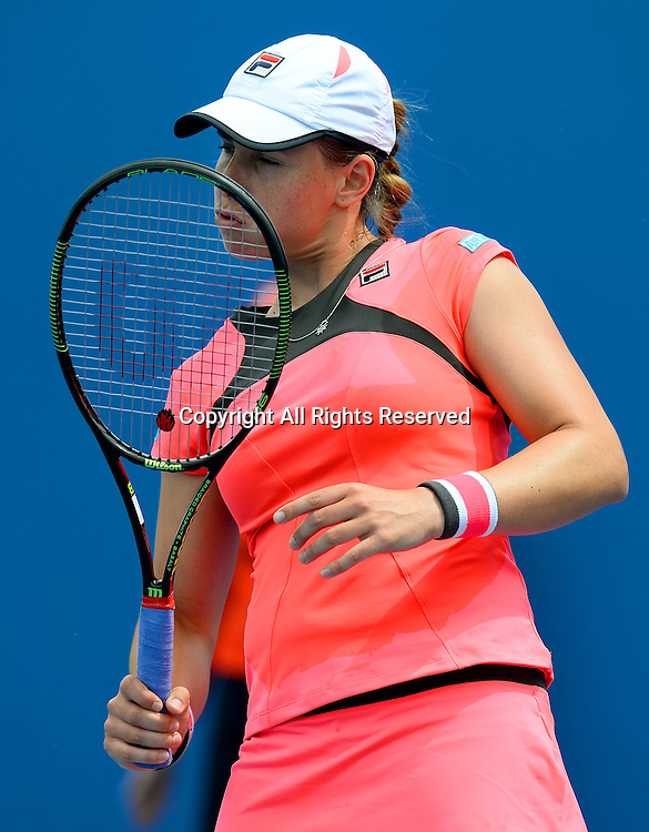 Marina Erakovic from New Zealand goes out in the 1st round of play to 24th seed Garbine Muguruza (ESP)<br /> 2015 Australian Open Tennis / Day 2<br /> Grand Slam of Asia Pacific<br /> Melbourne Park, Vic Australia<br /> Tuesday 20 January 2015<br /> &copy; Sport the library / Jeff Crow