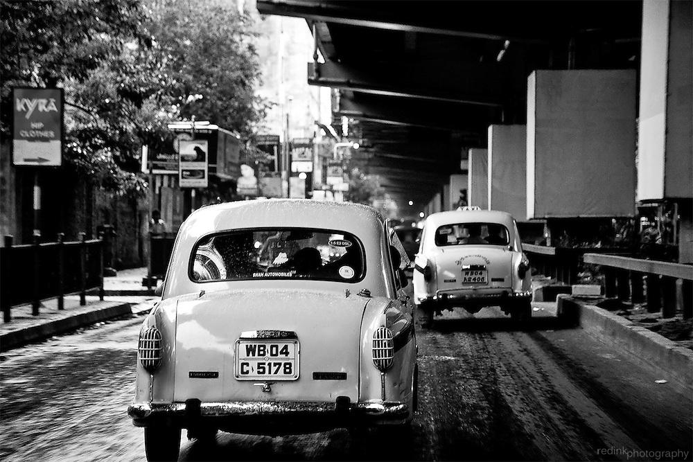 Taxi cabs drive the city of Kolkata (Calcutta), India.