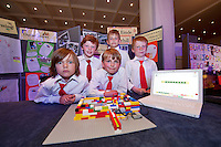 Young engineers and Scientists from all over county Galway including pupils from St Einde, Samuel Healy, Gabriel Badalov, and Robert O Reilly with Darren Murphy and Nojus Glikas at the back at the Medtronic Junior FIRST LEGO League organised by Galway Education Centre in the Radisson Blu Hotel Galway. This year the theme was 'Super Seniors' where pupils 6 to 9 years of age had to research problems for adults over 60 and invent a solution.<br /> . Picture:Andrew Downes