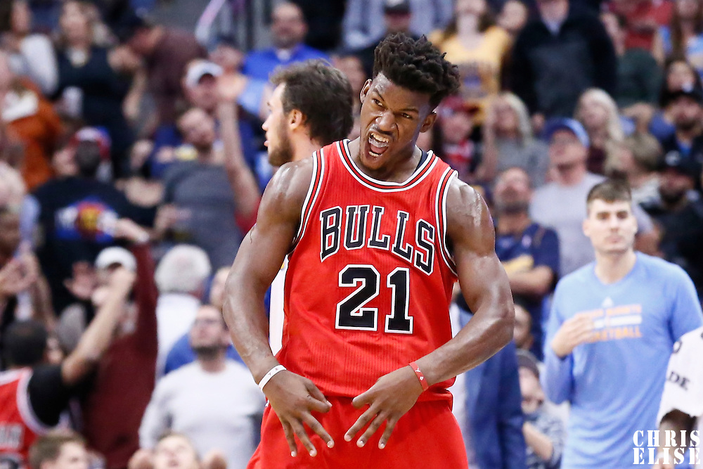 22 November 2016: Chicago Bulls forward Jimmy Butler (21) celebrates during the Denver Nuggets 110-107 victory over the Chicago Bulls, at the Pepsi Center, Denver, Colorado, USA.