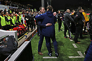 Newport Manager Michael Flynn and Tottenham Hotspur Manager Mauricio Pochettino say hello  during the The FA Cup 4th round match between Newport County and Tottenham Hotspur at Rodney Parade, Newport, Wales on 27 January 2018. Photo by Gary Learmonth.