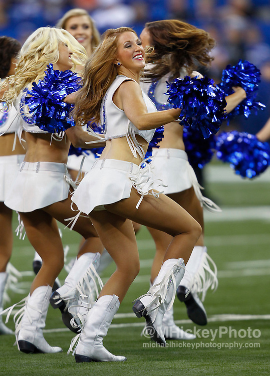 INDIANAPOLIS, IN - SEPTEMBER 08:  A Indianapolis Colts cheerleader performs during the Colts 21-17 win over the Oakland Raiders at Lucas Oil Stadium on September 8, 2013 in Indianapolis, Indiana. (Photo by Michael Hickey/Getty Images)