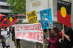 "Australian High Commission, London, June 1st 2015. Aboriginal rights protesters demonstrate outside the Australian High Commission in London against  the closure of up to 150 remote Aboriginal communities in Western Australia as the State Government under Premier Colin Barnett intends to close off municipal services by shutting off power and water. The protest also condemns the Prime Minister of Australia Tony Abbott who accuses Aboriginal peoples of ""making lifestyle choices""."