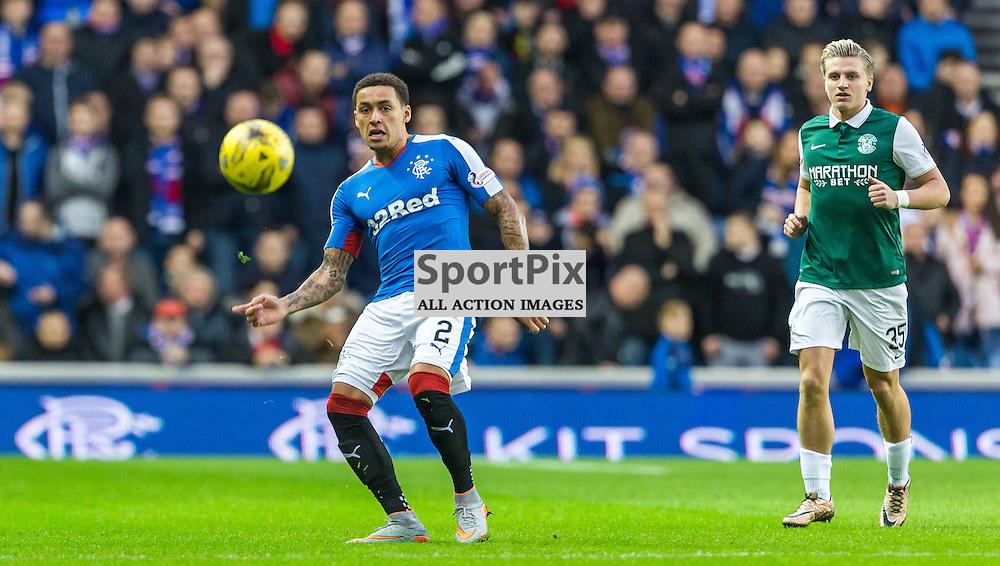 James Tavernier plays the ball during the match between Rangers and Hibernian (c) ROSS EAGLESHAM | Sportpix.co.uk