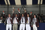 Henley, Great Britain.  Henley Royal Regatta. Winners of the Prince Albert Challenge Cup, Harvard University 'A', USA, raise the Trophy, in celebration. River Thames,  Henley Reach.  Royal Regatta. River Thames Henley Reach. Sunday  16:55:38  03/07/2011  [Mandatory Credit/Intersport Images] . HRR