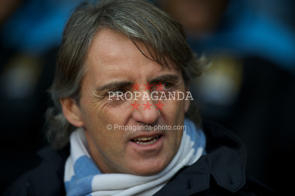 BIRMINGHAM, ENGLAND - Sunday, February 12, 2012: Manchester City's manager Roberto Mancini during the Premiership match against Aston Villa at Villa Park. (Pic by David Rawcliffe/Propaganda)