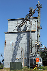 23 August 2013:   A signature of every small town in the midwest, this grain storage facility also know as an elevator, stands to process the corn and soybeans of farmers and agribusiness in and near the Central Illinois town of Sabina.