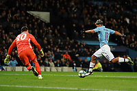 Manchester City's Sergio Aguero goes one to one with Dinamo Zagreb keeper Dominik Livakovic<br /> <br /> Football - 2019 / 2020 UEFA Champions League - Champs Lge Grp C: Man City-D Zagreb<br /> <br /> , at Etihad Stadium<br /> <br /> Colorsport / Terry Donnelly