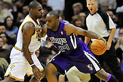 Oct. 30, 2010; Cleveland, OH, USA; Sacramento Kings power forward Carl Landry (24) tries to drive around Cleveland Cavaliers power forward Antawn Jamison (4) during the fourth quarter at Quicken Loans Arena. The Kings beat the Cavaliers 107-104. Mandatory Credit: Jason Miller-US PRESSWIRE