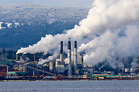 Harmac Pulp Mill, Nanaimo British Columbia, Canada against a backdrop of snow covered hills. (A three line Northern Bleached Sof