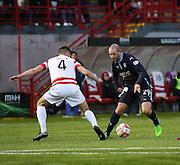 Dundee's Gary Harkins takes on Hamilton's Mikey Devlin -  Hamilton Academical v Dundee, SPFL Premiership at New Douglas Park<br /> <br />  - &copy; David Young - www.davidyoungphoto.co.uk - email: davidyoungphoto@gmail.com