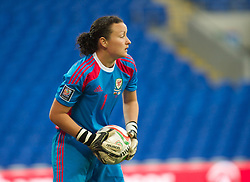 CARDIFF, WALES - Tuesday, August 21, 2014: Wales' goalkeeper Nicola Davies in action against England during the FIFA Women's World Cup Canada 2015 Qualifying Group 6 match at the Cardiff City Stadium. (Pic by Ian Cook/Propaganda)