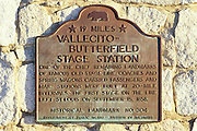 Historical landmark plaque marking the Vallecito-Butterfield Stage Station, Anza-Borrego Desert State Park, California
