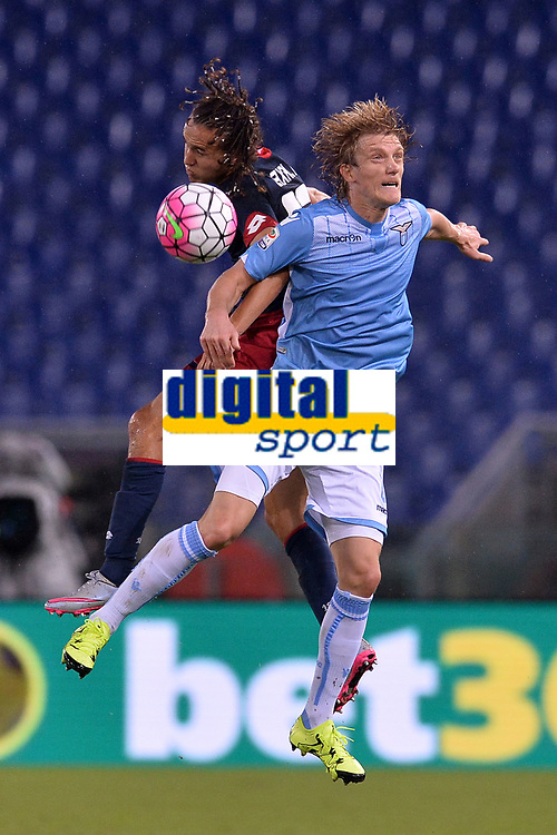 Dusan Basta Lazio, Diego Laxalt Genoa.<br /> Roma 23-09-2015 Stadio Olimpico, Football Calcio 2015/2016 Serie A Lazio - Genoa. Foto Antonietta Baldassarre / Insidefoto