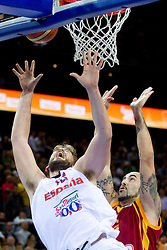 Pau Gasol of Spain vs Pero Antic of Macedonia during basketball game between National basketball teams of Spain and F.Y.R. of Macedonia in Semifinals  of FIBA Europe Eurobasket Lithuania 2011, on September 16, 2011, in Arena Zalgirio, Kaunas, Lithuania.  (Photo by Vid Ponikvar / Sportida)