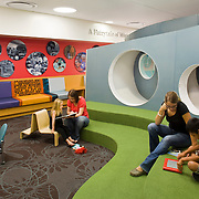 NBBJ - Children's Hospital of Orange County - CHOC<br /> NBBJ handled the re-design of an existing 1960s medical building for Children's Hospital of Orange County. The make-over took five years from inception to operation and the end result possesses NBBJ's unique style - both futuristic and playful.