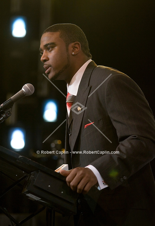 Ohio State University quarterback Troy Smith  speaks at a news conference after he won the Heisman trophy for college football player of the year at a ceremony in New York December 9, 2006.