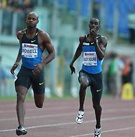 Friidrett<br /> ÅF Golden League 2008<br /> 11.07.2008<br /> Golden Gala Roma<br /> Foto: imago/Digitalsport<br /> NORWAY ONLY<br /> <br /> Jaysuma Saidy Ndure - Norge (re.) und Asafa Powell (Jamaika)
