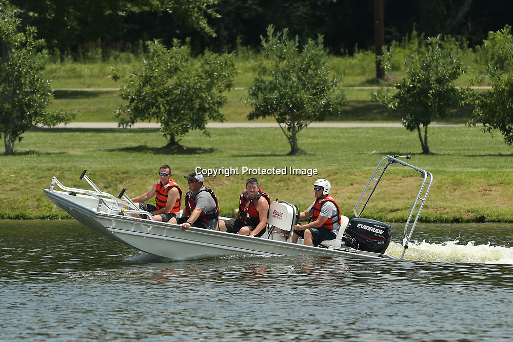 Tupelo firefighter Matthew Hillard, drives the departments boat carrying other Tupelo Firefighters as they train for the Homeland Security Task Force 1 Training held Thursday at Veterans Park in Tupelo.