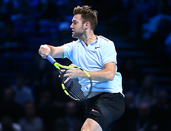 November 16, 2017 - London, United Kingdom - Jack Sock of USA against Alexander Zverev of Germany.during Day five of the Nitto ATP World Tour  Finals played at The O2 Arena, London on November 16 2017  (Credit Image: © Kieran Galvin/NurPhoto via ZUMA Press)