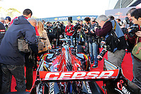 The media crowd over the Scuderia Toro Rosso STR10.<br /> Formula One Testing, Preparation Day, Saturday 31st January 2015. Jerez, Spain.