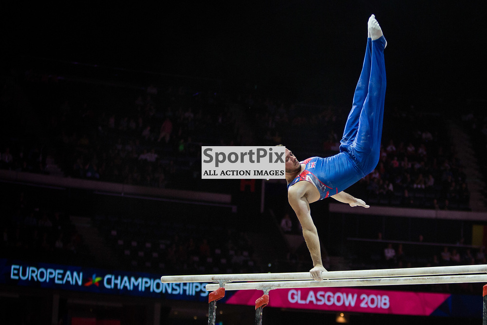 Dominick Cunningham of Great Britain competes in the Gymnastics Team Men Qualification - 2018 European Championships Glasgow, 9 August 2018. (c) Adam Oliver | sportPix.org.uk