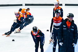 Suzanne Schulting, Sjinkie Knegt back on track during the training for ISU World Cup Finals Shorttrack 2020 on February 12, 2020 in Sportboulevard Dordrecht.