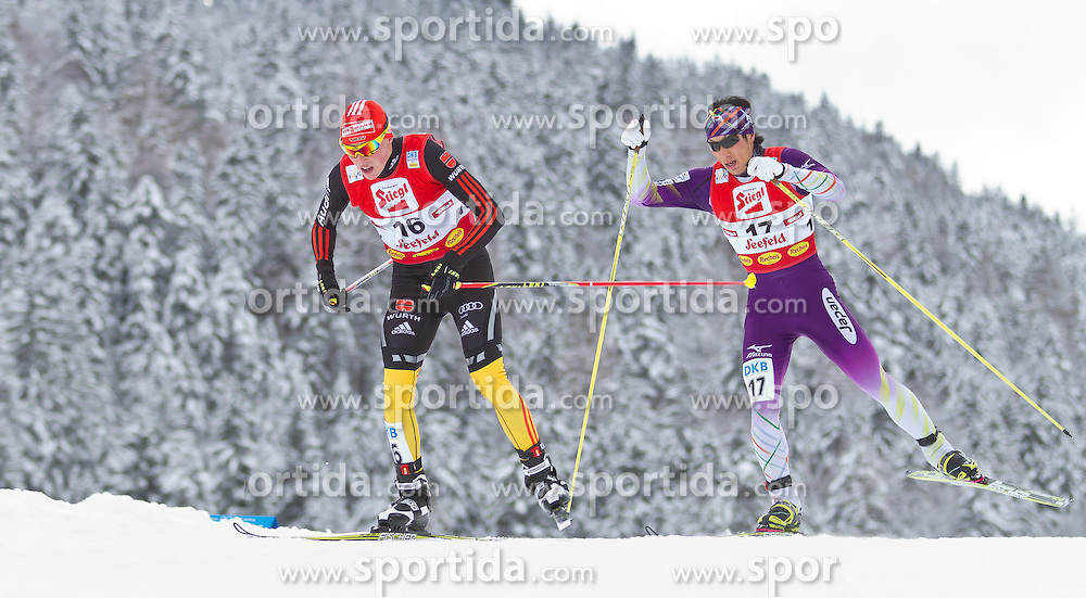 19.12.2011, Casino Arena, Seefeld, AUT, FIS Nordische Kombination, Langauf 10 km, im Bild Eric Frenzel (GER) // Eric Frenzel of Germany Yusuke Minato (JPN) // Yusuke Minato of Japan during the cross-country skiing 10 km at FIS Nordic Combined World Cup in Sefeld, Austria on 20111211. EXPA Pictures © 2011, PhotoCredit: EXPA/ P.Rinderer