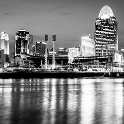 Cincinnati skyline at night black and white picture with Great American Ball Park, Great American Insurance Group Tower, PNC Tower building, Omnicare building, US Bank building, Carew Tower building, Scripps Center building, and Fifth Third building. Photo Copyright © 2012 Paul Velgos with All Rights Reserved.