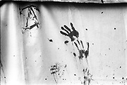 Painted hand prints, Forest Fayre, 22nd of May 1994.