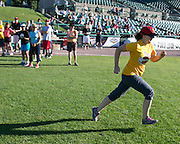 Lindsay Tersmette of Rochester runs to third base during a demonstration of Beep Baseball at Frontier Field in Rochester on Tuesday, June 23, 2015.
