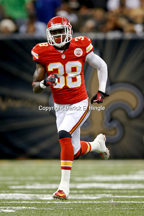 Aug 9, 2013; New Orleans, LA, USA; Kansas City Chiefs defensive back Neiko Thorpe (38) against the New Orleans Saints during a preseason game at the Mercedes-Benz Superdome. The Saints defeated the Chiefs 17-13. Mandatory Credit: Derick E. Hingle-USA TODAY Sports