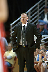 04 February 2006:  Coach Jim Wiedie puts a grim look on his face in the first half.  The sycamores trailed by a dozen points at one point in the first half.   The Indiana State Sycamores shook the Illinois State Redbirds from the nest with a 75-71 Victory.  There were 3,581 fans on hand, making the audience the  2nd largest women's basketball crowd ever in Redbird Arena on Illinois State University campus in Normal Illinois.