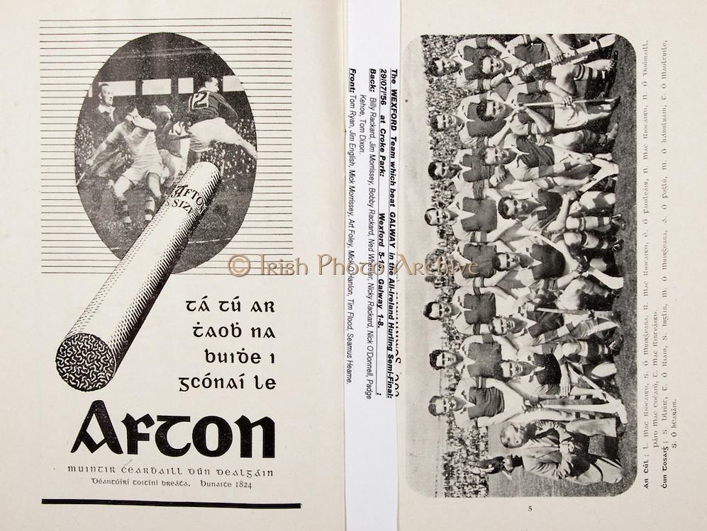 All Ireland Senior Hurling Championship Final, .Brochures, .23.09.1956, 09.23.1956, 23rd September 1956,.Wexford 2-14, Cork 2-8,.Minor Kilkenny v Tipperary, .Senior Cork v Wexford,.Croke Park,..Advertisements, Afton Cigarettes,