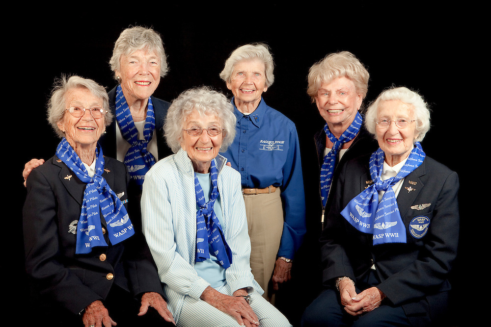 WWII WASP's.  Left to Right:  Dotty Swain Lewis, Dawn Seymour, Vi Cowden, Marty Wyall, Norma Penny Halberg, and Jan Goodrum.