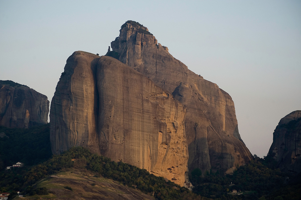 Greece, Meteora, Meteora landscape in sunset