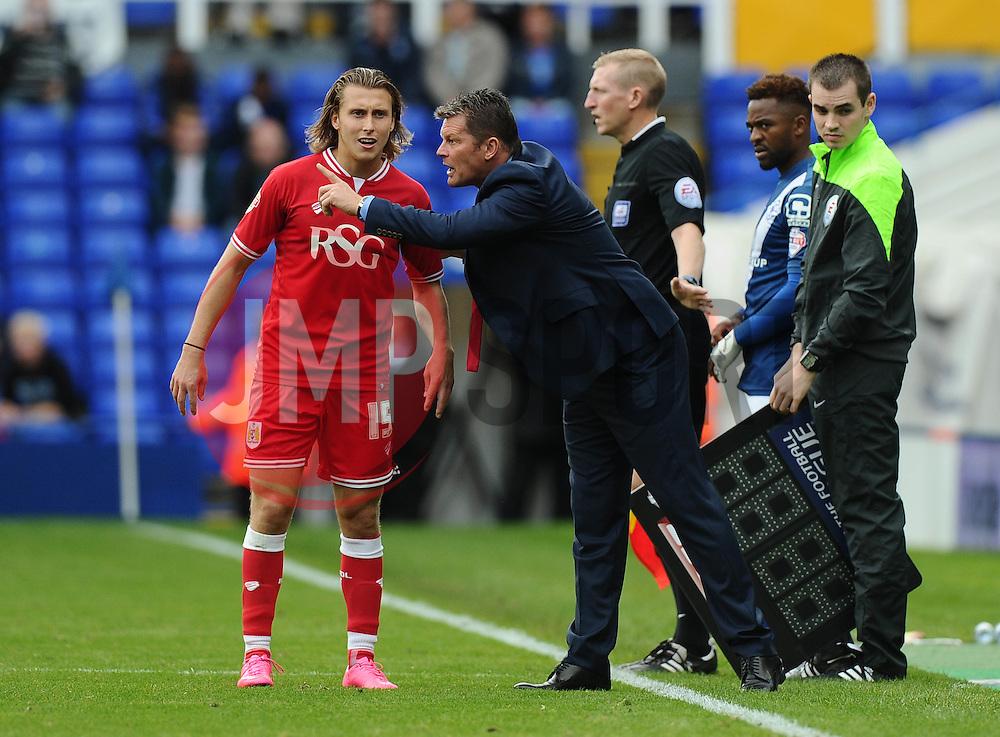 Bristol City manager, Steve Cotterill gives instructions to Luke Freeman of Bristol City  - Mandatory byline: Joe Meredith/JMP - 07966386802 - 12/09/2015 - FOOTBALL - St. Andrews Stadium -Birmingham,England - Birmingham City v Bristol City - Sky Bet Championship