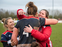 Captain Amelia Buckland-Hurry and head coach Kim Oliver celebrate - Mandatory by-line: Paul Knight/JMP - 03/02/2018 - RUGBY - Cleve RFC - Bristol, England - Bristol Ladies v Harlequins Ladies - Tyrrells Premier 15s