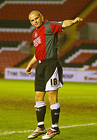 Photo: Aidan Ellis.<br /> Darlington v Swansea City. The FA Cup. 02/12/2006.<br /> Swansea's Andy Robinson salutes the fans after scoring the second