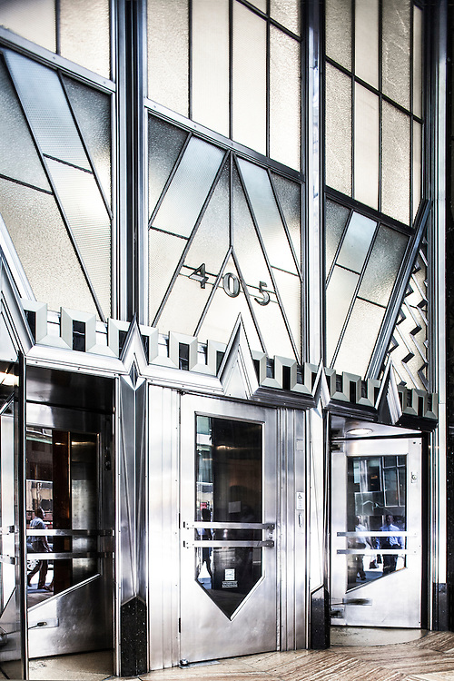 The silvery, Art Deco, Lexington Avenue entrance to the iconic Chrysler Building,  constructed from 1928 to 1930