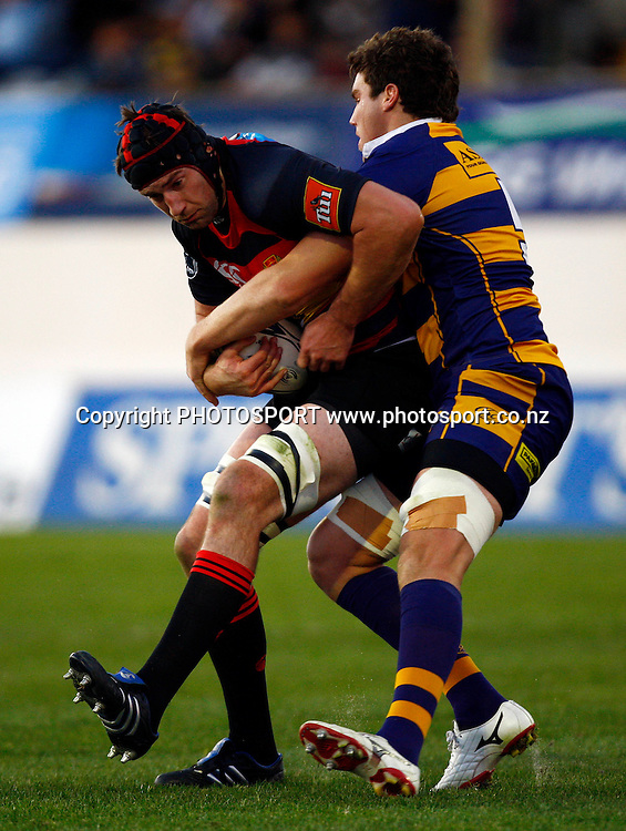 Canterbury flanker Michael Paterson is tackled by Bay lock Culum Retallick, Air NZ Cup, NPC rugby union. Bay of Plenty v Canterbury. Bay Park Stadium, Mt Maunganui. 5 September 2009. Photo: William Booth/PHOTOSPORT