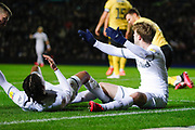 Leeds United forward Patrick Bamford (9) appeals for a penalty during the EFL Sky Bet Championship match between Leeds United and Millwall at Elland Road, Leeds, England on 28 January 2020.